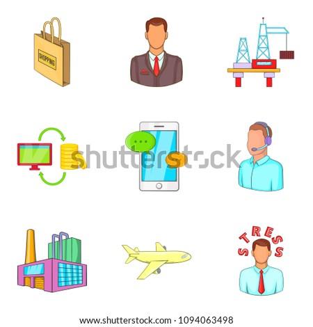 Advanced translation icons set. Cartoon set of 9 advanced translation icons for web isolated on white background