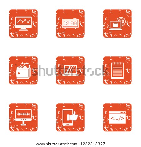 Advancement icons set. Grunge set of 9 advancement icons for web isolated on white background