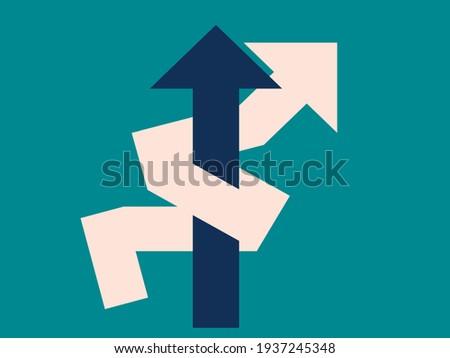 Advantage concept: the long way versus the short way. The efficient way versus the inefficient way. Illustration.