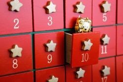 Advent calendar with chocolate toy horizontal