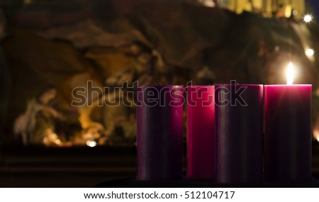 Advent Candles and Creche Week 1