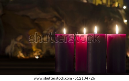 Advent Candles and Creche Week 4