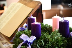 Advent candles in a church.