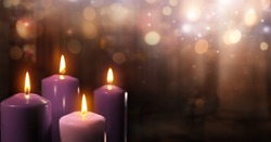 Advent Candles In Church - Three Purple And One Pink As A Catholic Symbol