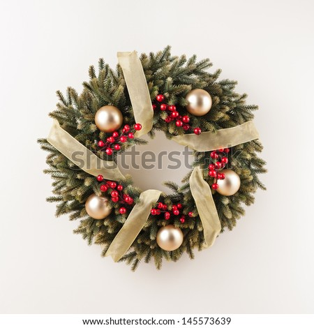 ... Advent Christmas wreath for door decoration over white 145573639
