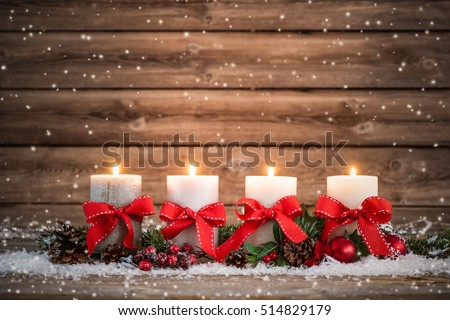 Advent decoration with four burning candles. Christmas background #514829179