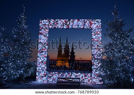 Advent in Zagreb - Night panorama of Zagreb cathedral at the time of Advent - New Year's Eve in Zagreb