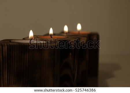 advent wooden christmas candle Kerze Teelicht Holz