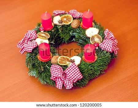 advent wreath on the table