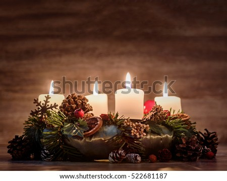 Advent  wreath with four burning candles   #522681187