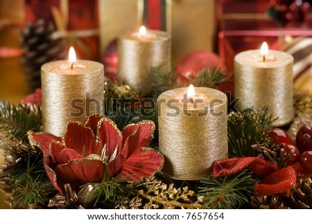 advent wreath with golden candles close up shoot