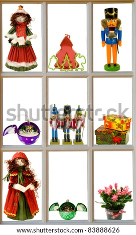 advents- display of christmas items in a window frame