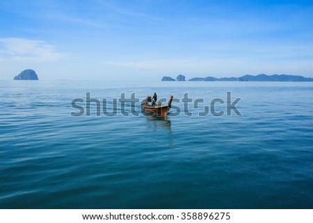 Adventure Landscape Background Wooden Fishing Boat On Sea Coast Of Tropical Island In Thailand At