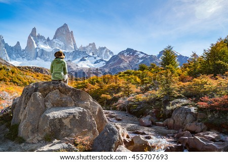 Adventure traveler fall in love with Autumn in Fitz Roy, Patagonia, El Chalten - Argentina