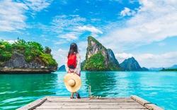 Adventure traveler young woman joy view beautiful destination island Phang-Nga bay, Famous landmark travel place Phuket Thailand, Tourism natural scenic landscape Asia, Tourist summer holiday vacation