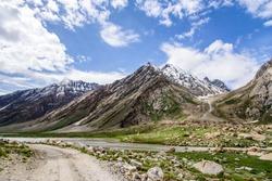 Adventure way and View of Zanskar Valley around Padum villange and great himalayan range- Ladakh, Jammu and Kashmir, India.