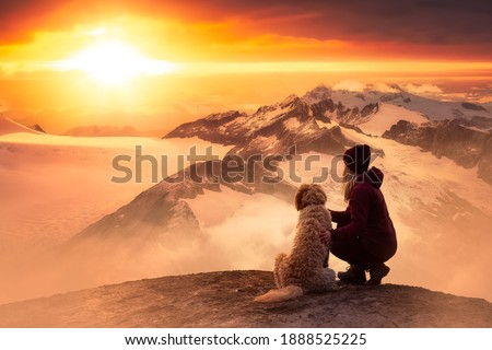 Adventurous Girl is hiking with a dog on top of Rocky Mountain with Canadian Nature Landscape from British Columbia in background. Dramatic sunset sky. Fantasy Composite. Concept: Adventure, Hike