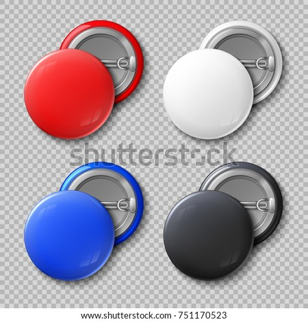 Shutterstock Advertise blank color round metal buttons or badges isolated set. Template colored souvenir badge, pin label circle illustration