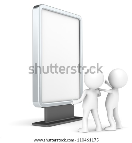 Advertise Here. 3D little human characters X 2 Looking at a Blank Billboard. Copy Space. People series.