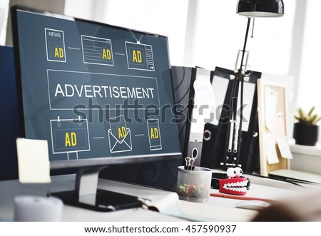 Advertisement ADS Commercial Marketing Advertising Branding Concept #457590937