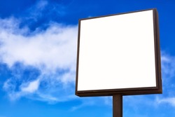 Advertisement mockup. Blank empty billboard against blue sky background