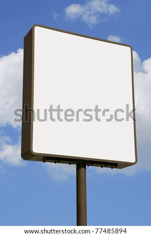 Advertisement panel over the sky. Billboard for promotions and ads