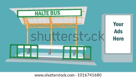 Advertising banner behind halte bus