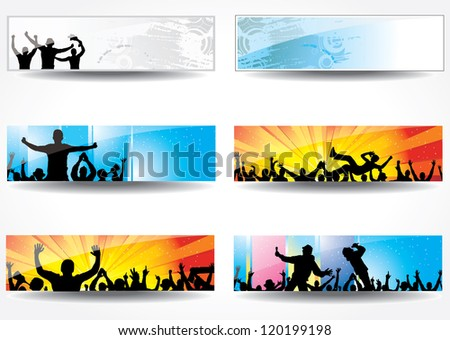 Advertising banners for sports championships and concerts. Raster version