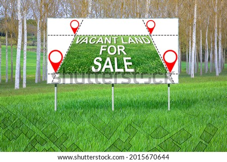 Advertising billboard in a rural scene with Vacant Land for Sale for the construction of residential buildings - Construction industry in a vacant lot concept with an imaginary cadastral map.  Imagine de stoc ©
