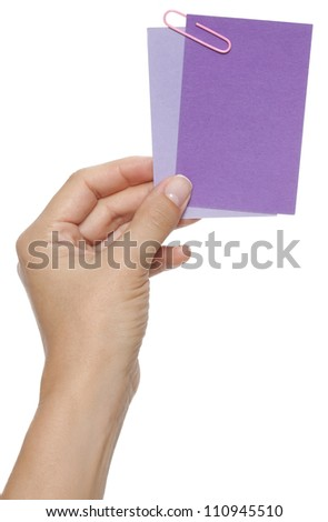 Advertising blank labels in hand