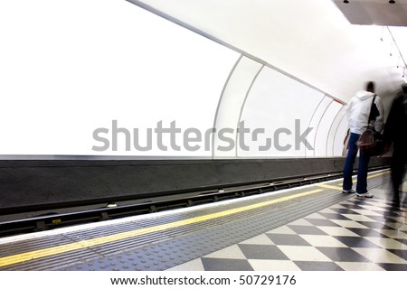 advertising blank poster site or billboard on london underground