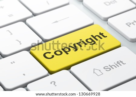 Advertising concept: computer keyboard with word Copyright, selected focus on enter button, 3d render