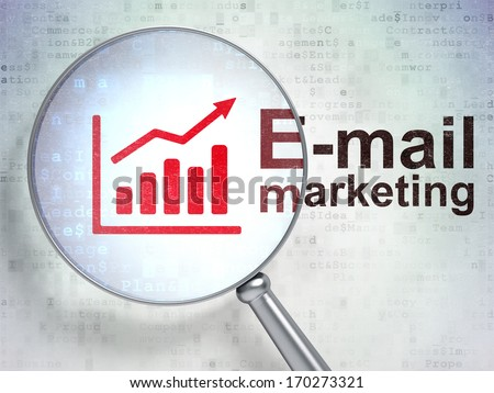 Advertising concept: magnifying optical glass with Growth Graph icon and E-mail Marketing word on digital background, 3d render