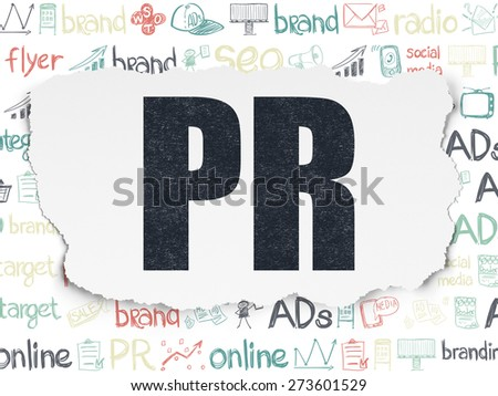 Advertising concept: Painted black text PR on Torn Paper background with  Hand Drawn Marketing Icons, 3d render