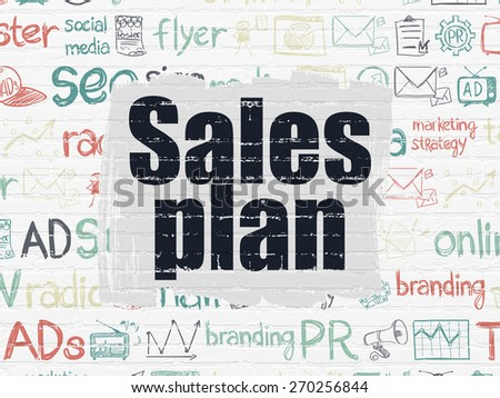 Advertising concept: Painted black text Sales Plan on White Brick wall background with  Hand Drawn Marketing Icons, 3d render