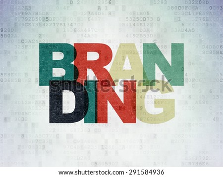 Advertising concept: Painted multicolor text Branding on Digital Paper background, 3d render