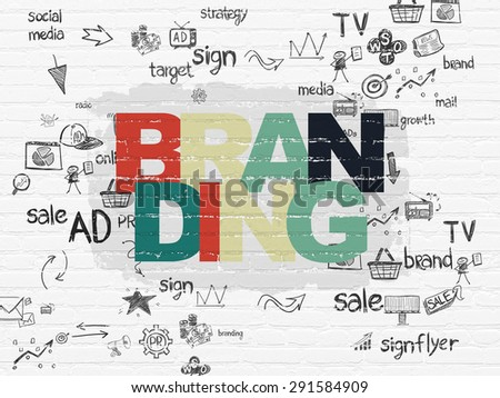 Advertising concept: Painted multicolor text Branding on White Brick wall background with Scheme Of Hand Drawn Marketing Icons, 3d render