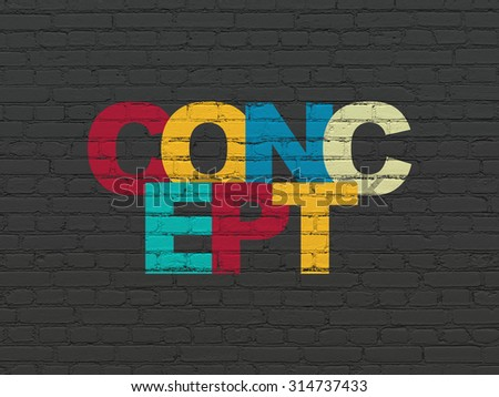 Advertising concept: Painted multicolor text Concept on Black Brick wall background