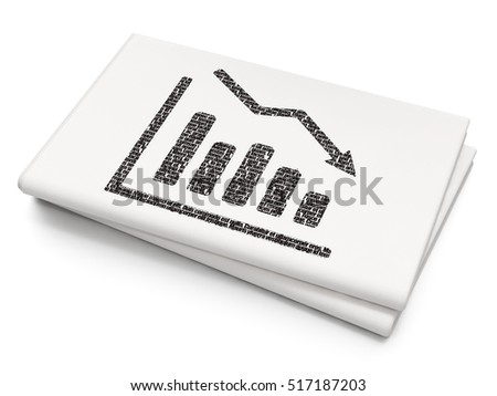 Advertising concept: Pixelated black Decline Graph icon on Blank Newspaper background, 3D rendering
