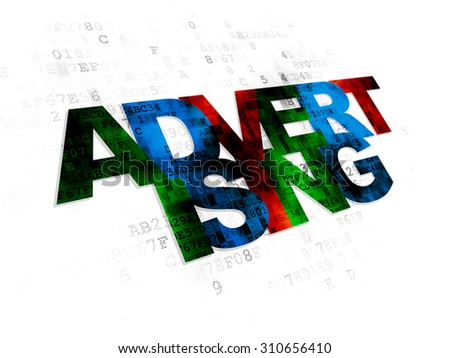 Advertising concept: Pixelated multicolor text Advertising on Digital background