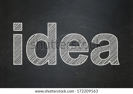 Advertising concept: text Idea on Black chalkboard background, 3d render