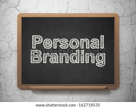Advertising concept: text Personal Branding on Black chalkboard on grunge wall background, 3d render