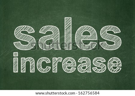 Advertising concept: text Sales Increase on Green chalkboard background, 3d render