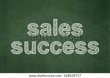 Advertising concept: text Sales Success on Green chalkboard background, 3d render