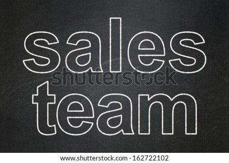 Advertising concept: text Sales Team on Black chalkboard background, 3d render