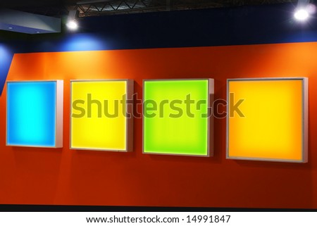 advertising empty panels over a stylish background. PATHS of the neon panels included