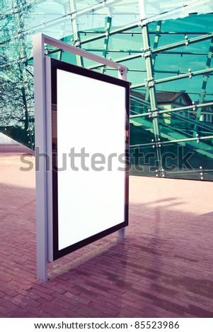 Advertising panel on a modern street