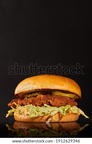 Advertising photography for a chicken burger restaurant and American food. Elegant vertical format advertising to add images and persuasive texts. Foto stock ©