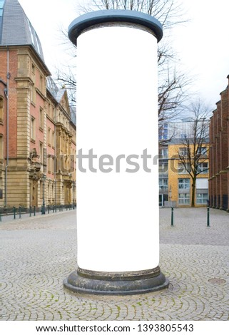 advertising pillar in a city with free copy space, advertising mockup