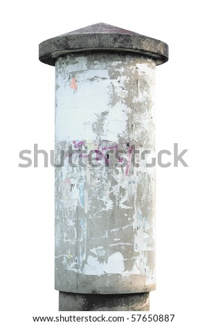 Advertising pillar, weathered aged grunge light grey concrete ad pole, isolated empty blank copyspace, rustic background - stock photo